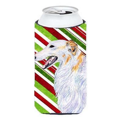 Borzoi Candy Cane Holiday Christmas Tall Boy Hugger 22 To 24 oz.