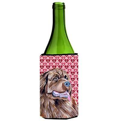 Newfoundland Hearts Love And Valentines Day Portrait Wine Bottle Hugger 24 oz.