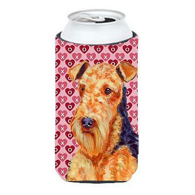 Airedale Hearts Love And Valentines Day Portrait Tall Boy bottle sleeve Hugge...