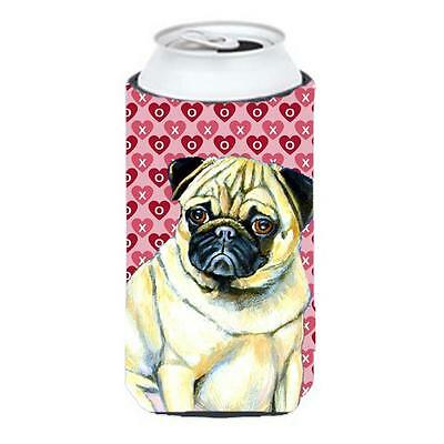 Pug Hearts Love And Valentines Day Portrait Tall Boy Hugger 22 To 24 oz.