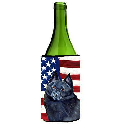 USA American Flag with Schipperke Wine bottle sleeve Hugger 24 oz.