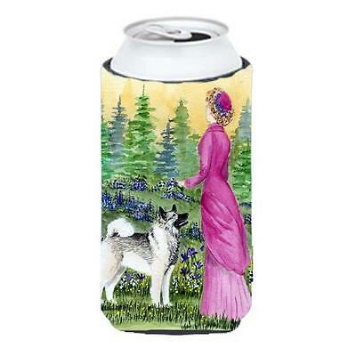Lady With Her Norwegian Elkhound Tall Boy bottle sleeve Hugger 22 To 24 oz.