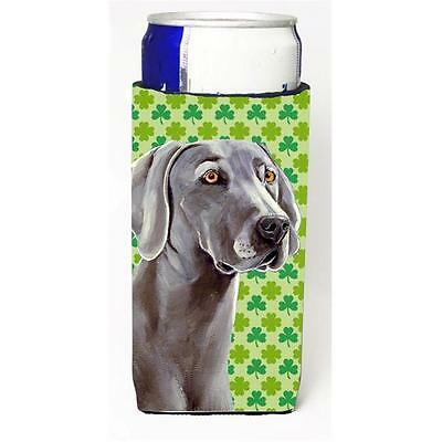 Weimaraner St. Patricks Day Shamrock Portrait Michelob Ultra bottle sleeves f...
