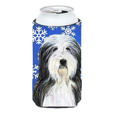 Bearded Collie Winter Snowflakes Holiday Tall Boy bottle sleeve Hugger 22 to ...