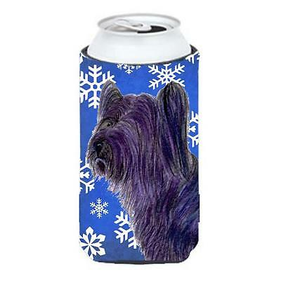 Skye Terrier Winter Snowflakes Holiday Tall Boy bottle sleeve Hugger