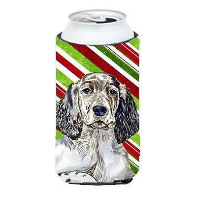 English Setter Candy Cane Holiday Christmas Tall Boy bottle sleeve Hugger 22 ...