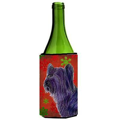 Skye Terrier Red Green Snowflake Holiday Christmas Wine bottle sleeve Hugger ...