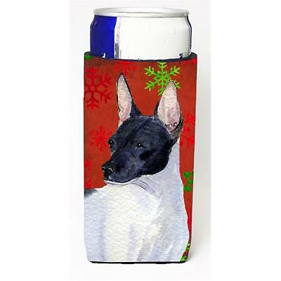 Rat Terrier Red And Green Snowflakes Holiday Christmas Michelob Ultra bottle ...