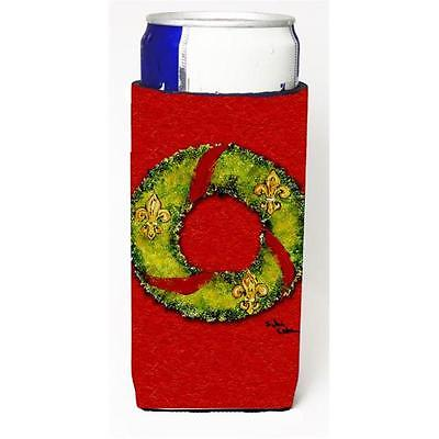 Christmas Wreath Fleur De Lis Michelob Ultra bottle sleeve for Slim Can