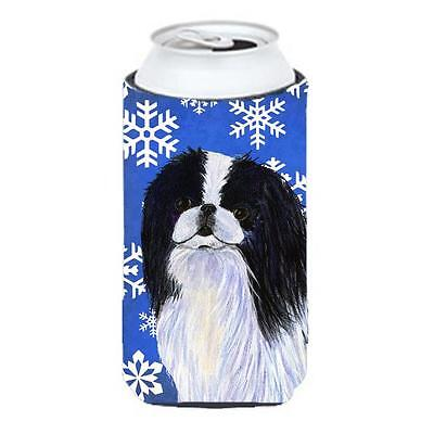Japanese Chin Winter Snowflakes Holiday Tall Boy bottle sleeve Hugger