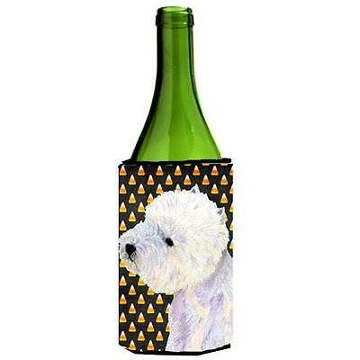 Westie Candy Corn Halloween Portrait Wine bottle sleeve Hugger 24 oz. • AUD 48.26