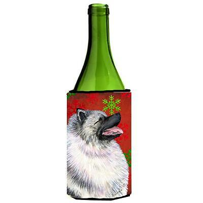 Keeshond Red And Green Snowflakes Holiday Christmas Wine bottle sleeve Hugger...