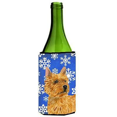 Norwich Terrier Winter Snowflakes Holiday Wine bottle sleeve Hugger 24 oz.