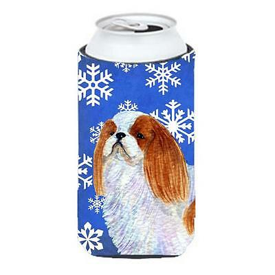 English Toy Spaniel Winter Snowflakes Holiday Tall Boy bottle sleeve Hugger 2...