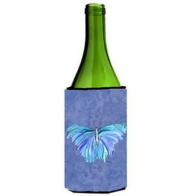 Carolines Treasures Butterfly On Slate Blue Wine bottle sleeve Hugger 24 oz.