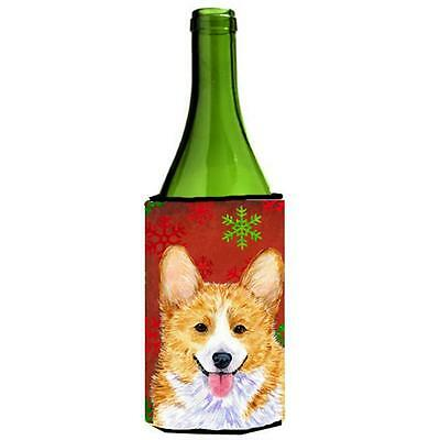 Corgi Snowflakes Holiday Christmas Wine bottle sleeve Hugger 24 oz.