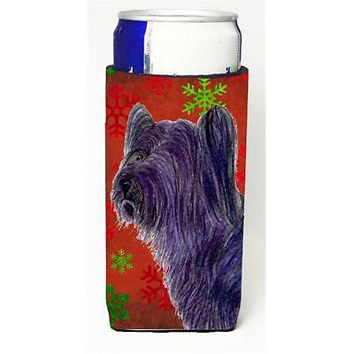 Skye Terrier Red Green Snowflake Holiday Christmas Michelob Ultra bottle slee...