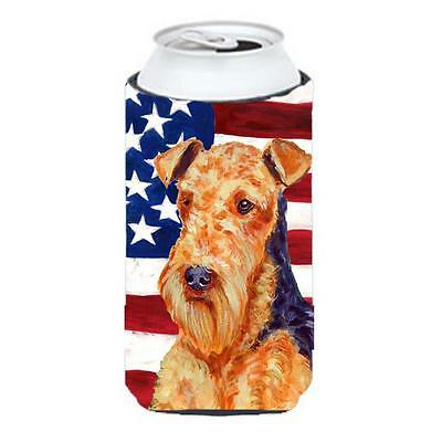 Usa American Flag With Airedale Tall Boy bottle sleeve Hugger