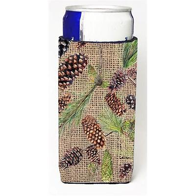 Pine Cones On Faux Burlap Michelob Ultra bottle sleeves For Slim Cans 12 oz.