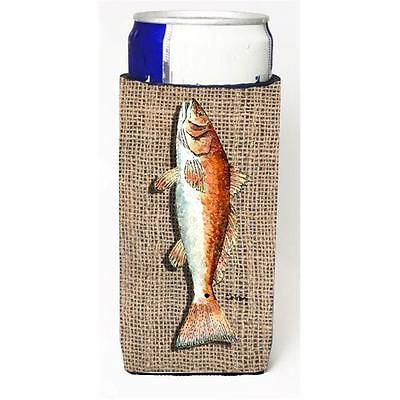 Fish Red Fish On Faux Burlap Michelob Ultra bottle sleeves For Slim Cans 12 oz.