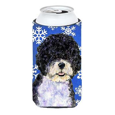 Portuguese Water Dog Winter Snowflakes Holiday Tall Boy bottle sleeve Hugger ...