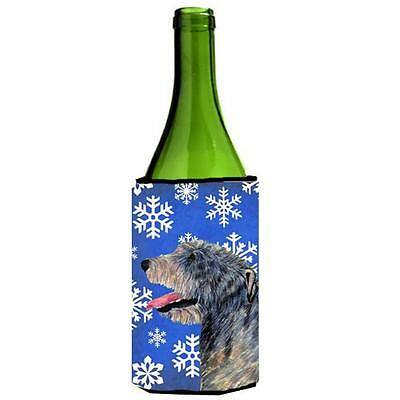 Irish Wolfhound Winter Snowflakes Holiday Wine bottle sleeve Hugger 24 oz.