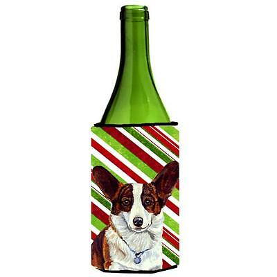 Corgi Candy Cane Holiday Christmas Wine bottle sleeve Hugger 24 oz.