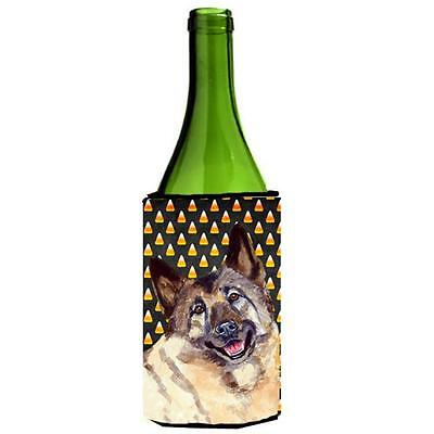 Norwegian Elkhound Candy Corn Halloween Portrait Wine bottle sleeve Hugger 24...