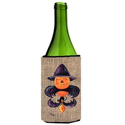Halloween Pumpkin And Bat Fleur De Lis On Faux Burlap Wine bottle sleeve Hugg...