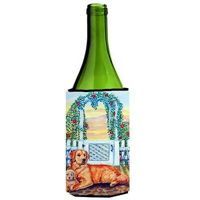 Golden Retriever And Puppy At The Fence Wine bottle sleeve Hugger 24 oz.