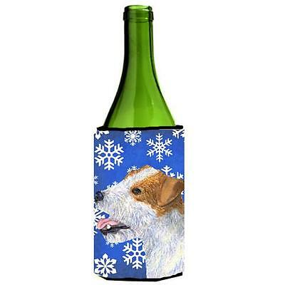 Jack Russell Terrier Winter Snowflakes Holiday Wine bottle sleeve Hugger 24 oz.