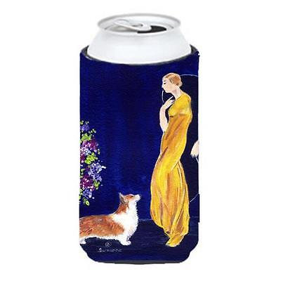 Lady With Her Corgi Tall Boy bottle sleeve Hugger 22 To 24 oz.