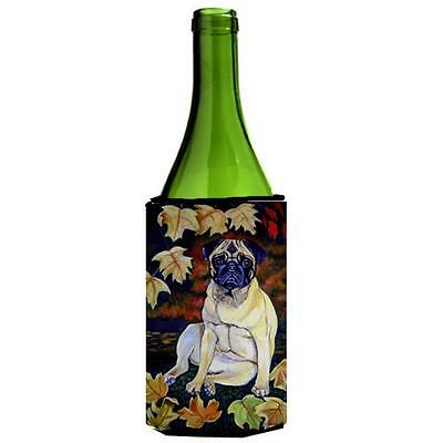 Carolines Treasures Fawn Pug In Fall Leaves Wine bottle sleeve Hugger 24 oz.