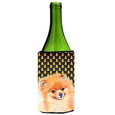Pomeranian Candy Corn Halloween Portrait Wine bottle sleeve Hugger 24 oz.