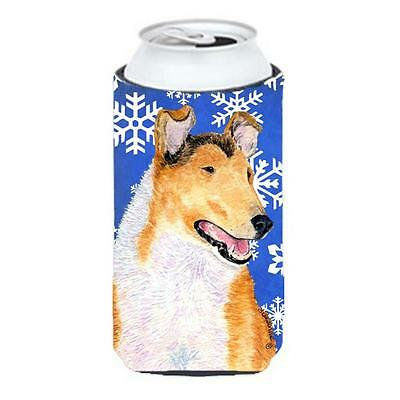 Carolines Treasures Collie Smooth Winter Snowflakes Holiday Tall Boy Hugger