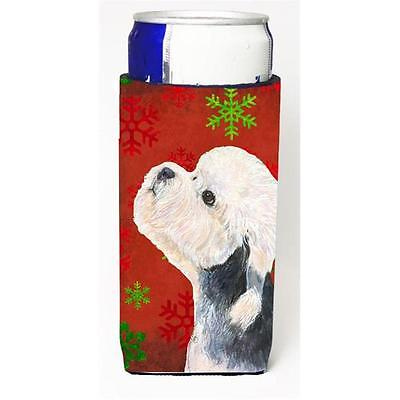 Dandie Dinmont Terrier Red Green Snowflakes Christmas Michelob Ultra bottle s...