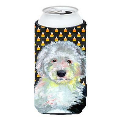 Old English Sheepdog Candy Corn Halloween Portrait Tall Boy bottle sleeve Hug...