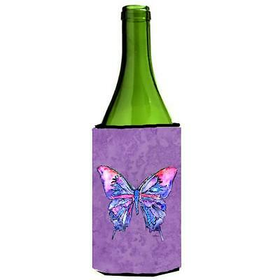 Carolines Treasures Butterfly On Purple Wine bottle sleeve Hugger 24 oz.