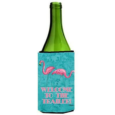 Welcome To The Trailer With Flamingos Wine bottle sleeve Hugger 24 oz.