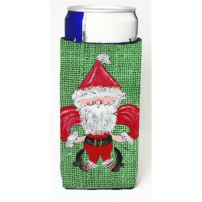 Christmas Santa Fleur De Lis On Faux Burlap Michelob Ultra bottle sleeves For...