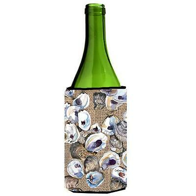 Carolines Treasures Oyster On Faux Burlap Wine bottle sleeve Hugger 24 oz.