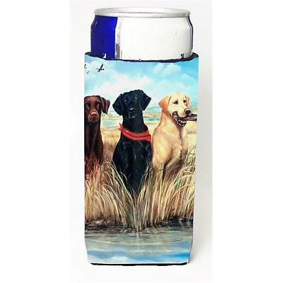 Labrador Black Chocolate and Yellow Michelob Ultra bottle sleeve for Slim Can