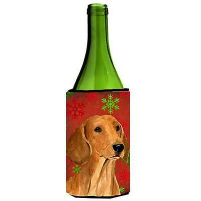 Dachshund Snowflakes Holiday Christmas Wine bottle sleeve Hugger 24 oz.