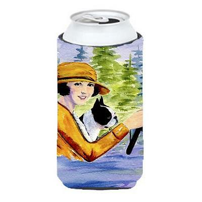 Woman Driving With Her Boston Terrier Tall Boy bottle sleeve Hugger 22 To 24 oz.