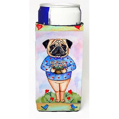 Pug Valentines Hearts Michelob Ultra bottle sleeves For Slim Cans 12 oz.