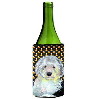 Old English Sheepdog Candy Corn Halloween Portrait Wine bottle sleeve Hugger ...