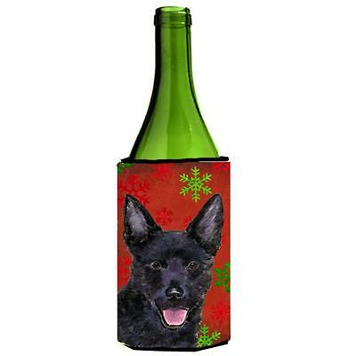 Australian Kelpie Red Green Snowflakes Christmas Wine bottle sleeve Hugger 24...