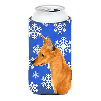Min Pin Winter Snowflakes Holiday Tall Boy bottle sleeve Hugger