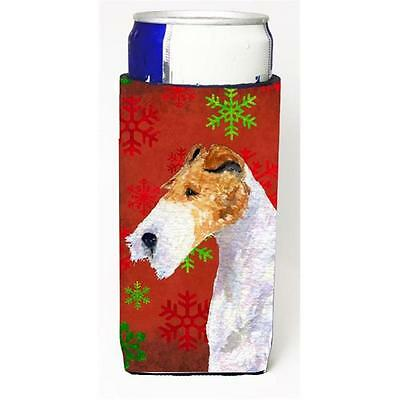 Fox Terrier Red And Green Snowflakes Holiday Christmas Michelob Ultra bottle ...