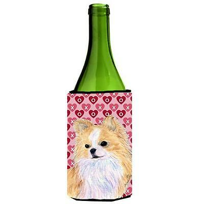 Chihuahua Hearts Love Valentines Day Portrait Wine bottle sleeve Hugger 24 oz.